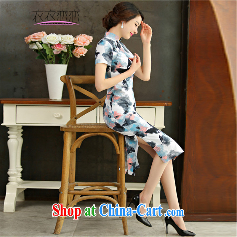 Yi Yi Lian Lian 2015 summer new retro beauty graphics thin short sleeves in the Code improved linen long cheongsam dress the butterfly 9010 XL