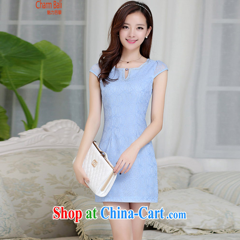 2015 summer edition Korea beauty and Stylish retro petal collar short-sleeved Chinese qipao, long dresses blue L
