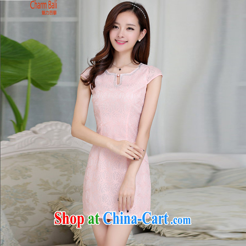 2015 summer edition Korea beauty and Stylish retro petal collar short-sleeved Chinese qipao, long dresses pink XXL