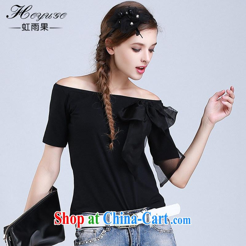 hamilton 2015 summer new female field shoulder cotton shirt Female European root yarn butterfly knot knit short-sleeve shirt T white L