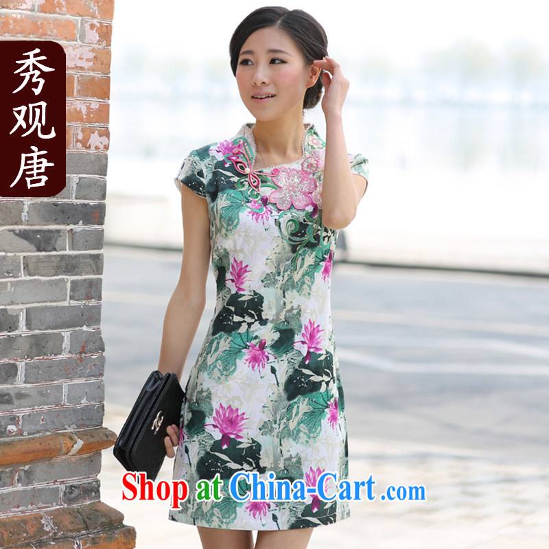 Cyd Ho Kwun Tong dreams I should be grateful if you stylish improved embroidery cheongsam_Summer new retro female dresses picture color M