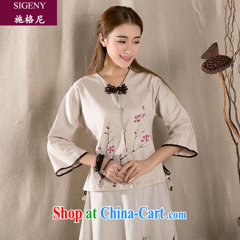 Shih, 2015 new summer stamp thin Ms. Replace T-shirt cotton the improved disk 7 for the cuff of antique wind jacket female apricot XL apricot XL
