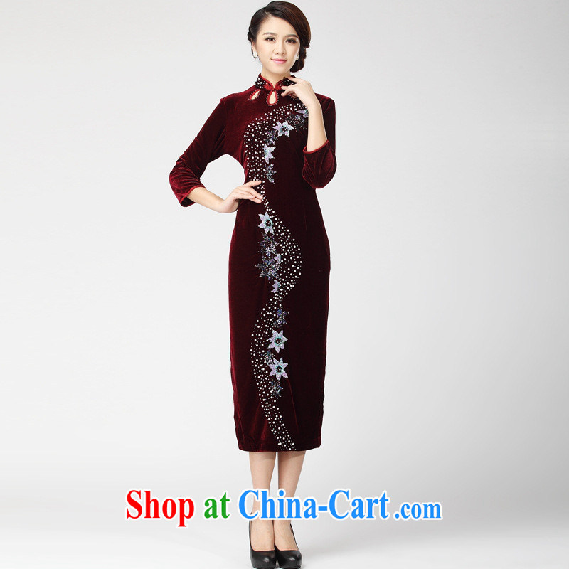 9 month female * retro manually staple-ju really velvet cheongsam dress Chinese long dress mother wedding dresses dress XXXL Uhlans on