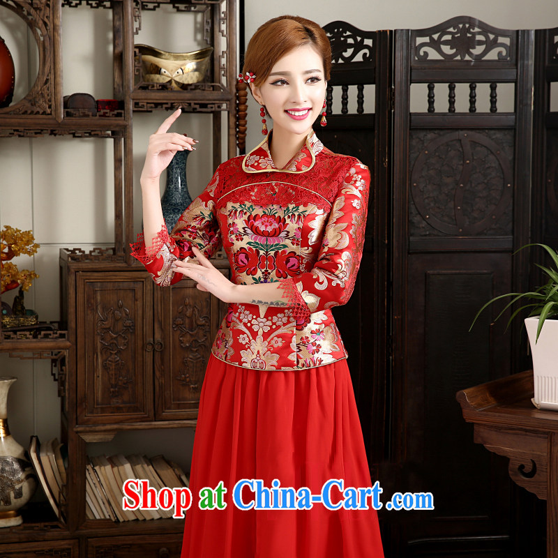 White first to approximately 2015 outfit New improved autumn and winter brides, stylish long-sleeved robes red Chinese bows serving long, red outfit tailored contact Customer Service