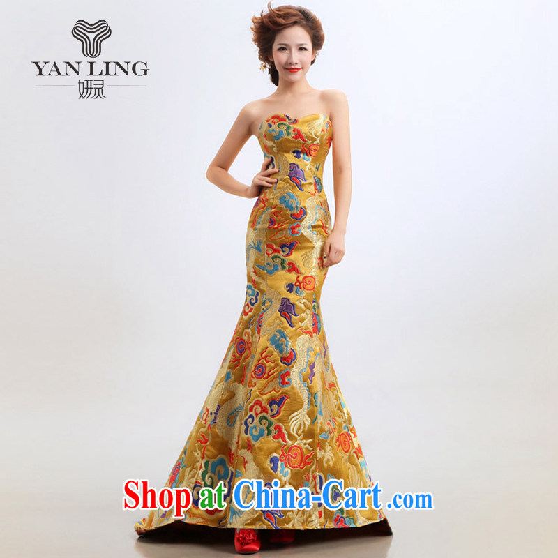 2015 new stars, with robes of the Dragon bride toast wedding dresses Evening Dress wedding clothes show yellow XL