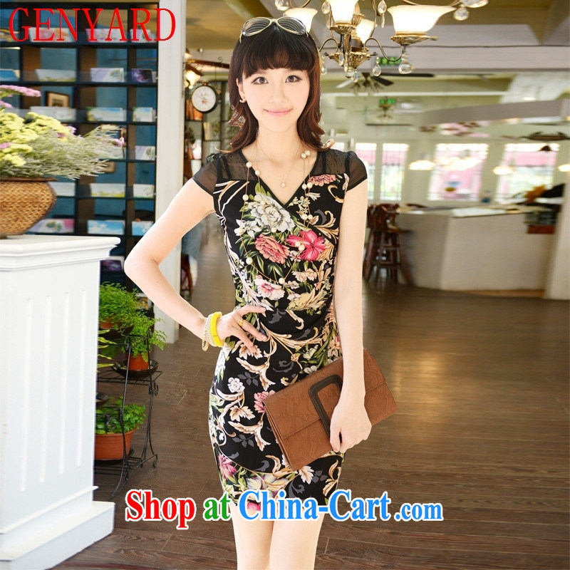 Deloitte Touche Tohmatsu sunny store new, larger cheongsam dress V collar dress stylish short dresses retro girls dresses beauty Lily XXXL