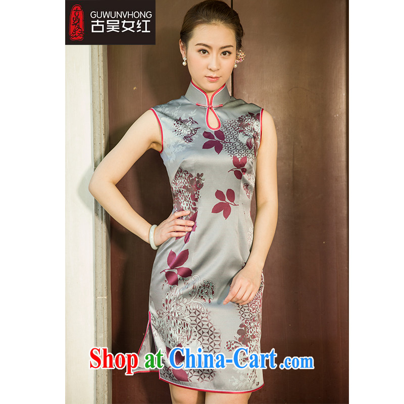 Mr. Wu female Red 2015 summer load new stamp duty cheongsam short XXL suit