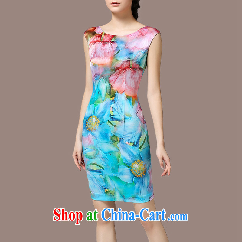 The Soviet Union's 2015 summer new women with stamp duty beauty dresses larger graphics thin skirt light blue 5 XL