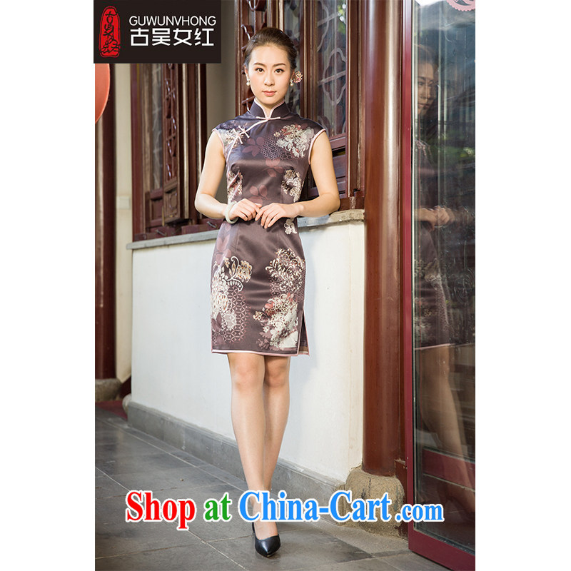 Mr. Wu female Red 2015 summer load new stamp duty cheongsam short XXL suit