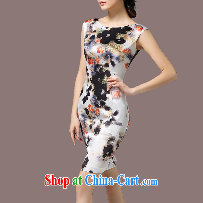 The Soviet Union's 2015 women's clothing new summer beauty graphics thin ink stamp temperament the code dress white 3XL