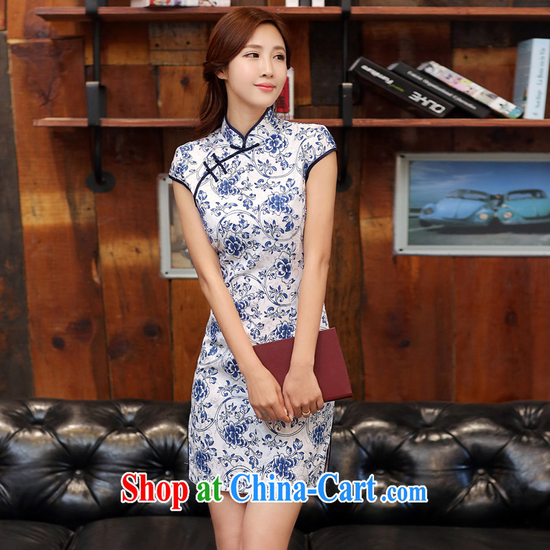 The Estee Lauder poetry 2015 summer new, improved cheongsam jacquard short cheongsam beauty girl dress-day forklift truck cheongsam dress 988 white blue XXL