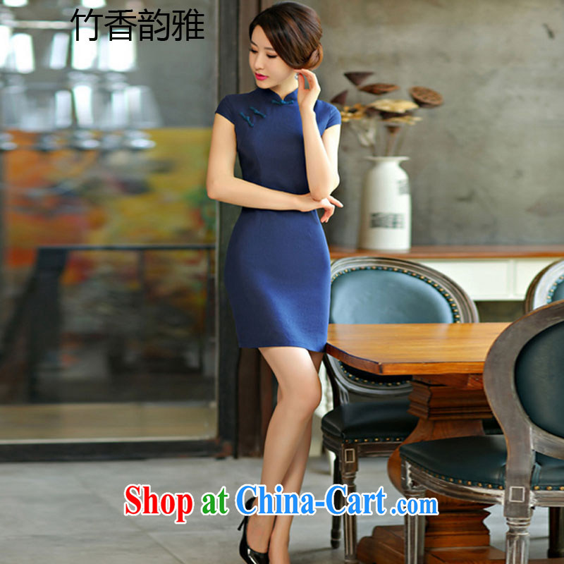 Bamboo incense were 2015 new summer Solid Color simplicity of Korea arts-cultivating improved Chinese Dress dark blue XXL