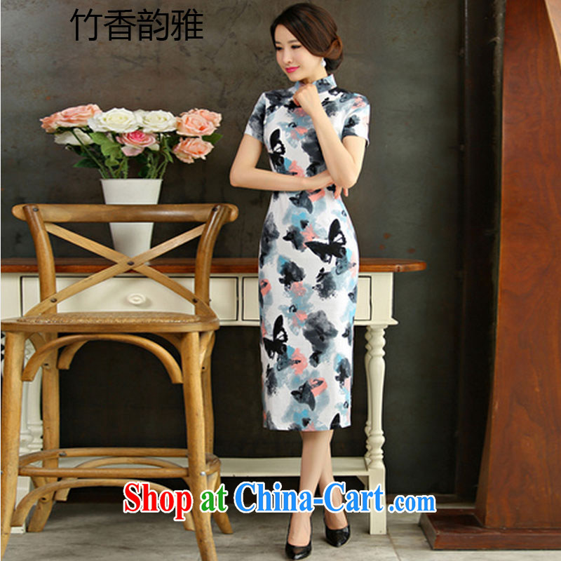 Bamboo incense, the 2015 spring and summer beauty retro graphics thin short sleeves in the Code improved linen long cheongsam dress 9010 the butterfly XXL