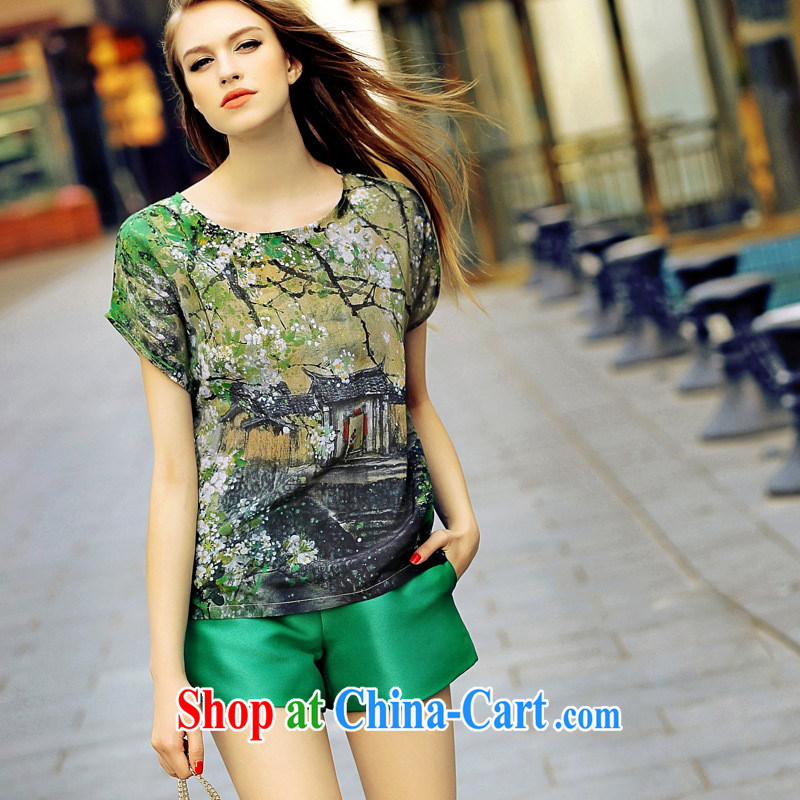 hamilton European site summer 2015 new female Spring Art stamp round-collar short-sleeve shirt T shirt KB 3829 photo color L