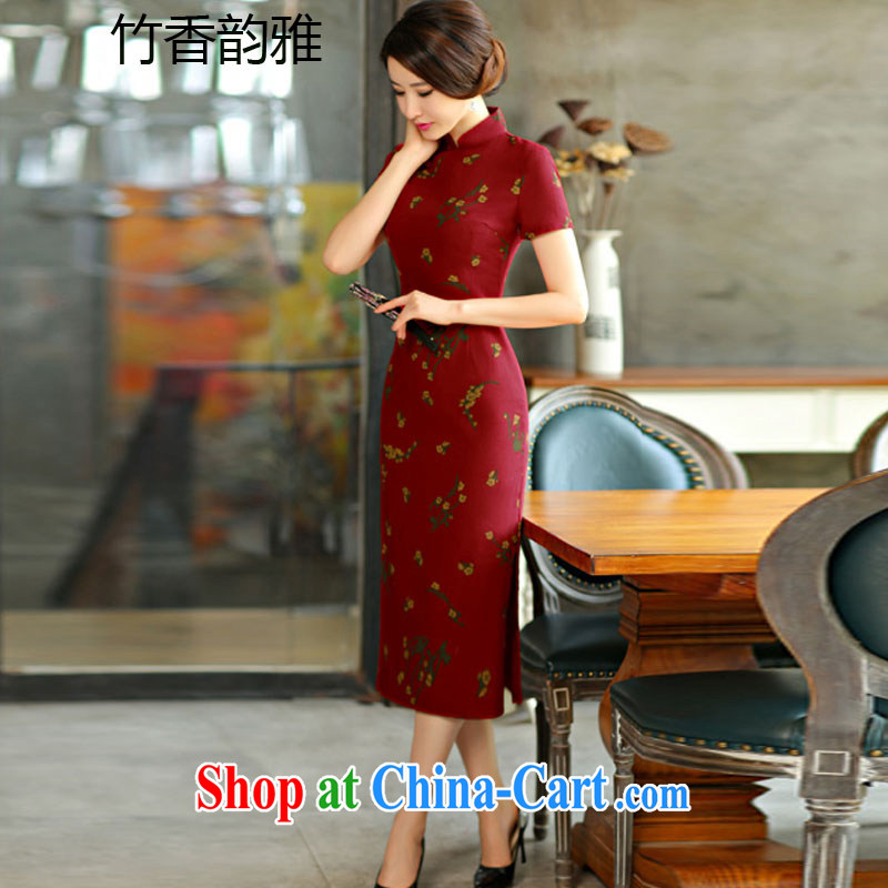Bamboo incense, the 2015 spring and summer beauty retro graphics thin short sleeves in the Code improved linen long cheongsam dress 9007 Samui red XXL