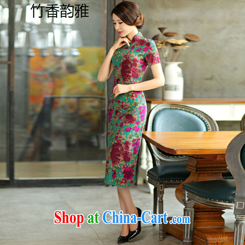 Bamboo incense, the 2015 spring and summer beauty retro graphics thin short sleeves in the Code improved linen long cheongsam dress 9008 Green Maze XXL