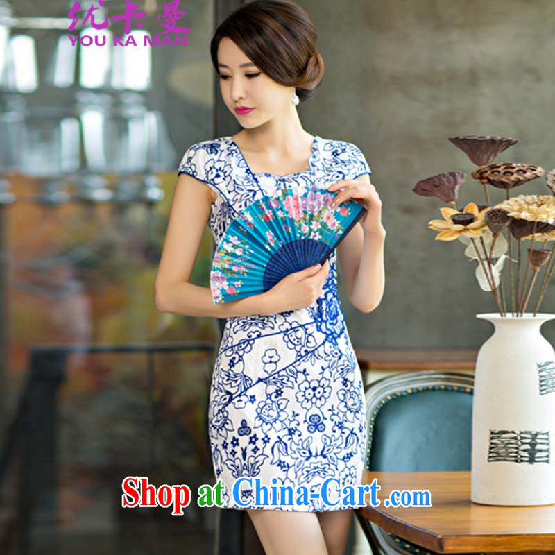 Optimize the Cayman 2015 new daily female package dresses and short skirts, improved stylish blue and white porcelain dress 9006 _picture color XL