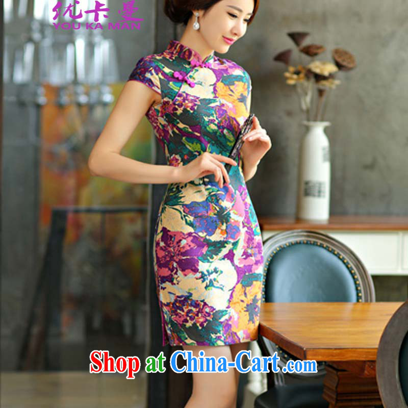 Optimize the Cayman 2015 new cheongsam dress summer basket stamp duty the retro improved cultivating short daily outfit _9014 fancy XL