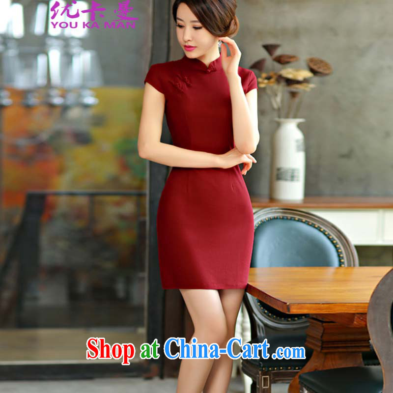 Optimize the Cayman 2015 new summer wear solid color simplicity of Korea arts-cultivating improved Chinese Dress 9013 #wine red XL