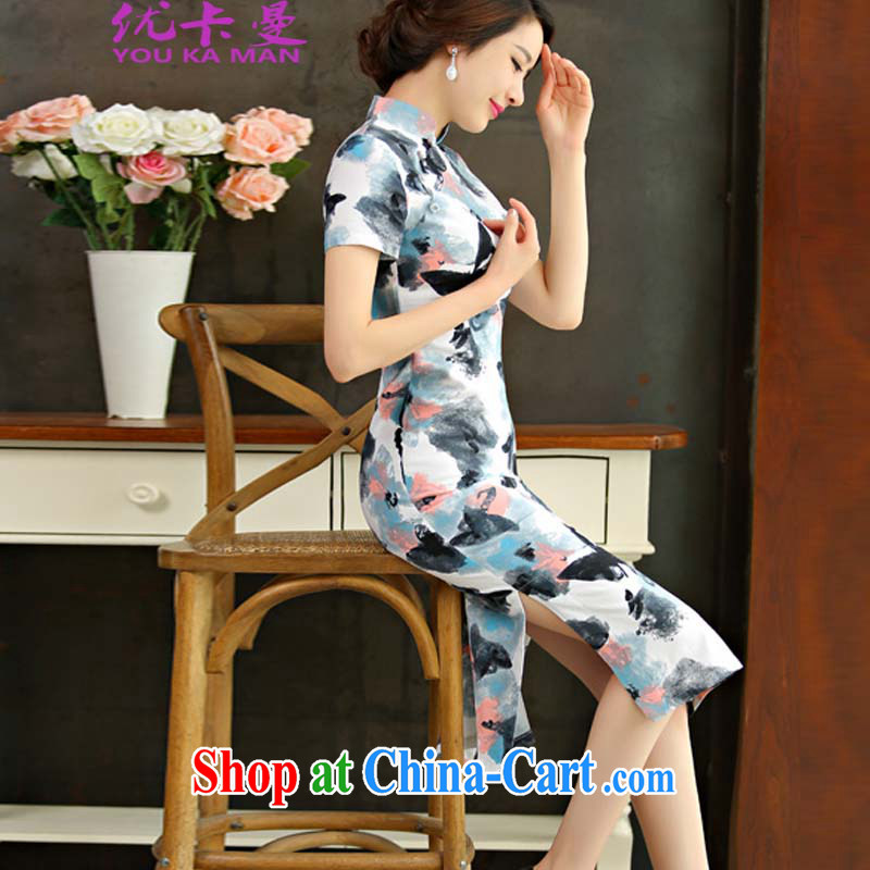 Optimize the Cayman 2015 spring and summer and autumn with retro beauty graphics thin short sleeves in the Code improved linen long cheongsam dress 9011 _The disc XL