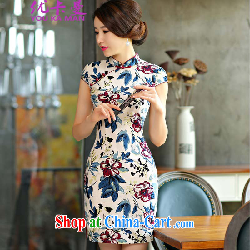 Optimize the Cayman 2015 new cheongsam dress summer basket stamp duty the retro improved cultivating short daily outfit _9014 white XL