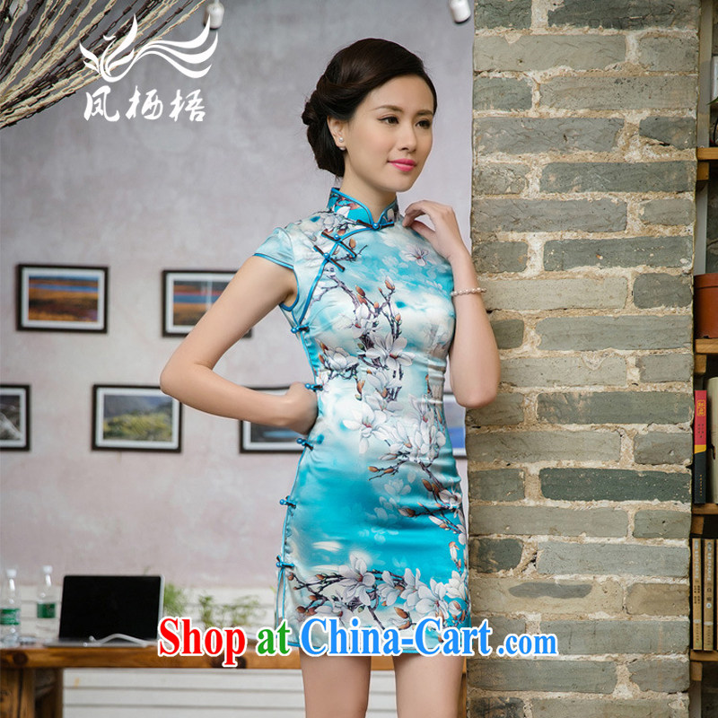 Bong-amphibious Ori-2015 new upscale Silk Cheongsam beauty retro sauna silk stylish stamp dress cheongsam dress DQ 15,116 fancy XXL