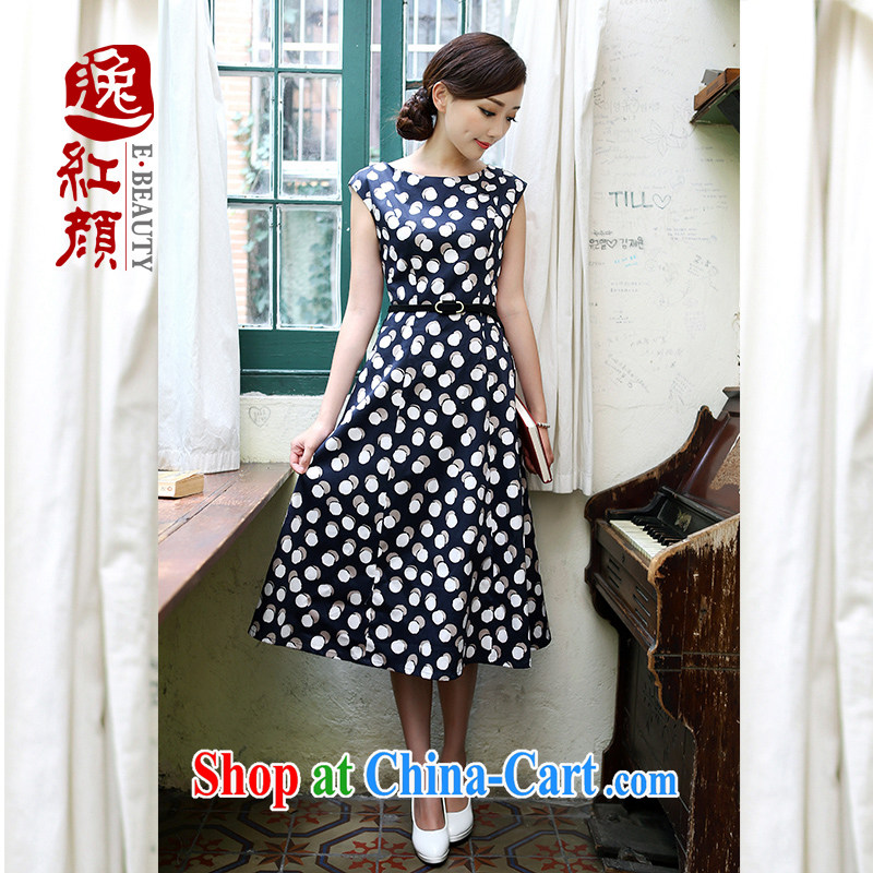once and for all and fatally jealous Indus cotton China wind retro art van wave point qipao dresses ethnic wind sleeveless dresses blue XL
