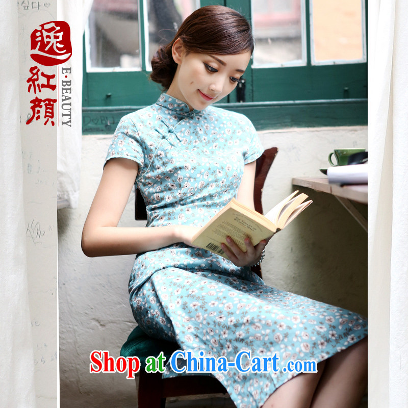 once and for all and fatally jealous pear cotton cheongsam dress spring 2015 improved stylish long cotton the cheongsam dress retro blue 2 XL