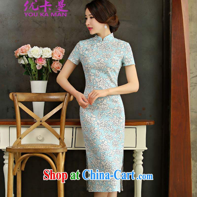Optimize the Cayman 2015 spring and summer beauty retro graphics thin short sleeves in the Code improved linen long cheongsam dress 9007 _blue L