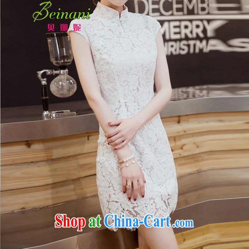 Addis Ababa her summer 2015 new Korean Ladies dresses beauty with small dress graphics thin skirts style lace package and dresses X 50 white powder color L
