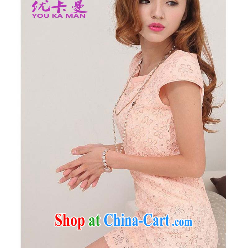 Optimize the Cayman 2015 spring new improved Stylish retro short cheongsam dress lace 1096 pink XL