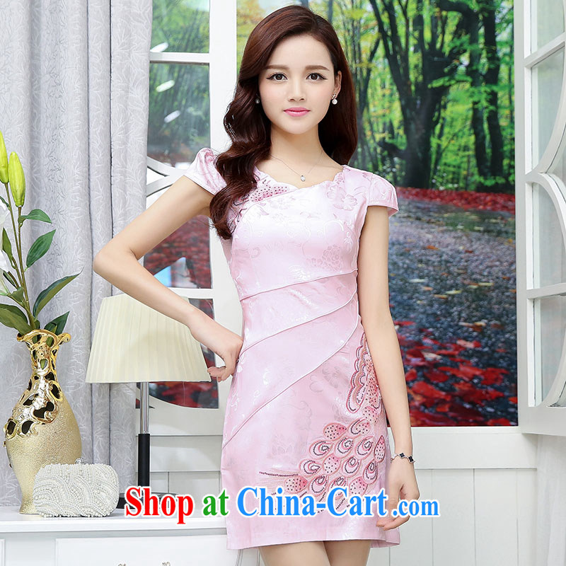 Gurunvani 2015 summer New Style beauty and refined, embroidery, short-sleeved retro improved cheongsam 1560 XXL vase _small_