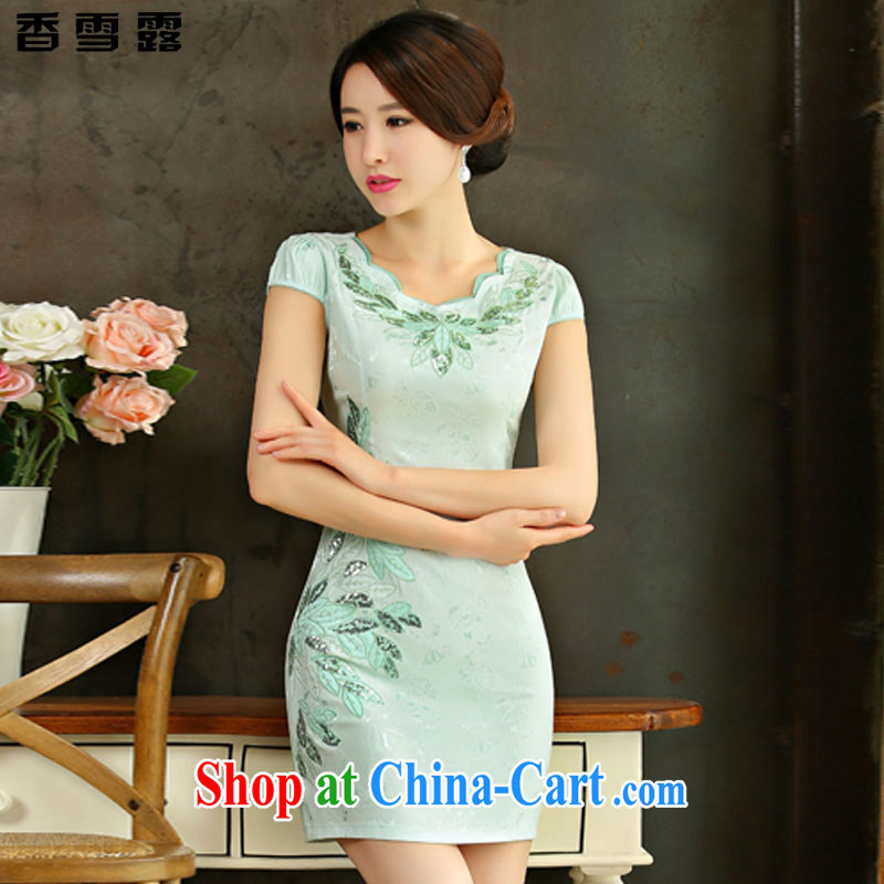 Fragrant snow terrace summer 2015 new improved female cheongsam dress retro beauty everyday dresses short dresses X 001 green XXL
