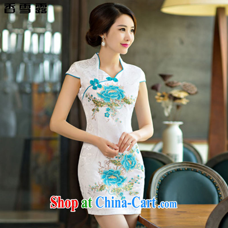 Fragrant snow terrace summer 2015 new daily qipao dresses short dresses summer improved the Code women serving toast X 002 blue flower XXL