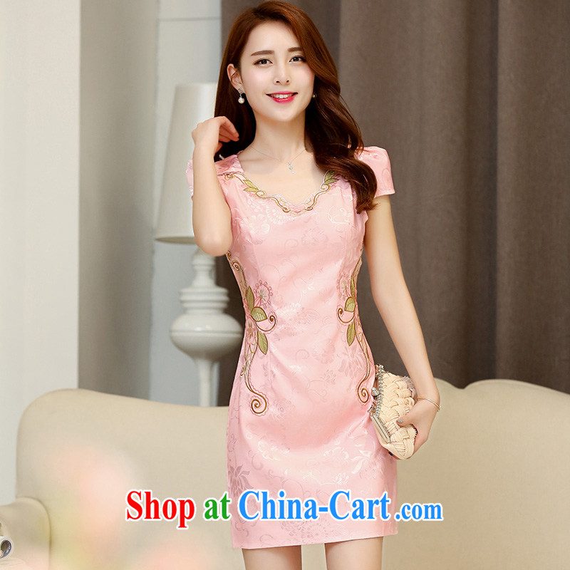 Gurunvani 2015 summer new daily improved stylish beauty embroidered Chinese Antique, short cheongsam 1536 pink XXL (small)