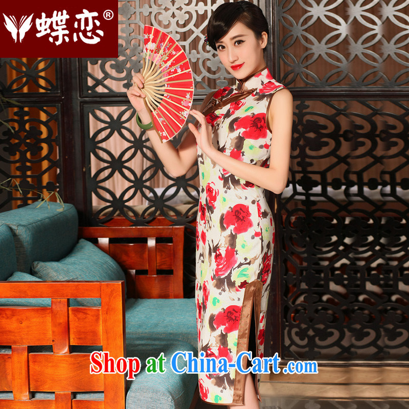 Butterfly Lovers 2015 spring and summer new improved stylish long cheongsam dress daily retro cotton the cheongsam 54,229 rose XXL