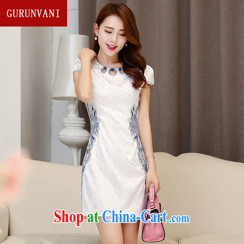 Gurunvani 2015 summer new stylish beauty adorned with embroidered blue and white porcelain antique Chinese ladies short dresses 1535 Hester Prynne XXL _small_