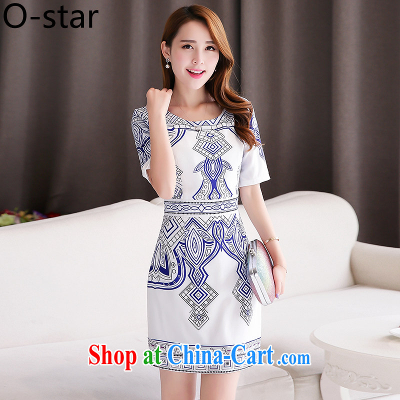 O - Star dresses 2015 summer new dresses summer short stylish blue and white porcelain goods improved cotton the Chinese ching Ms. L suit