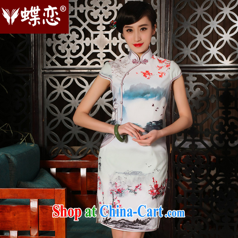 Butterfly Lovers 2015 spring and summer with new, improved stylish emulation Silk Cheongsam dress daily retro short cheongsam 54,230 figure XXL