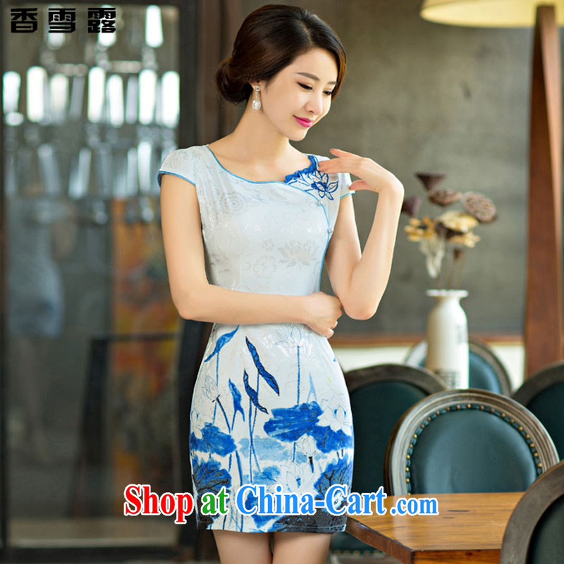 Fragrant snow terrace summer 2015 new improved female cheongsam dress retro beauty everyday dresses short dresses 004 X LAN XXL