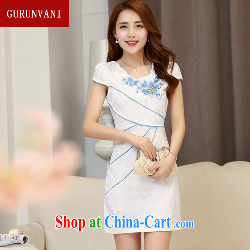 Gurunvani 2015 summer new sleek retro elegant refined embroidery package Ms. cuff short sleeves cheongsam 1535 Hester Prynne XXL _small_