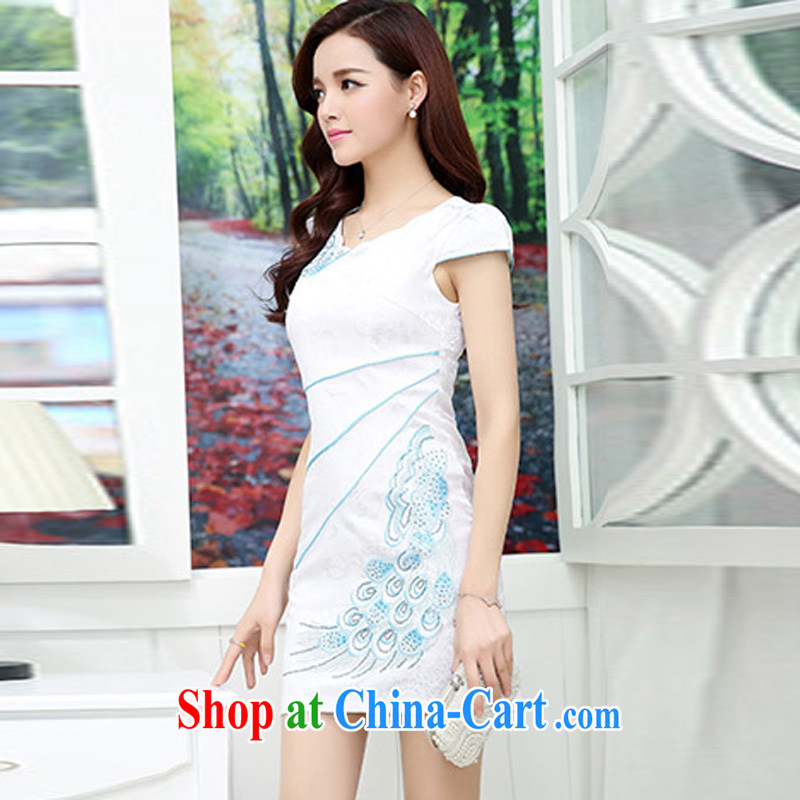 Thanks for Mrs 2015 new female summer Ethnic Wind retro beauty graphics thin cheongsam dress XL Hester Prynne, beautiful Mrs (liangshu), online shopping