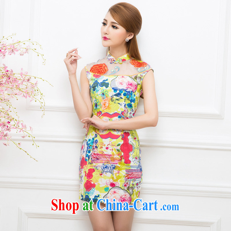 The Tang dynasty elegant stitching the root yarn embroidery cheongsam dress TXF white 41,249 Wong abstract figure S