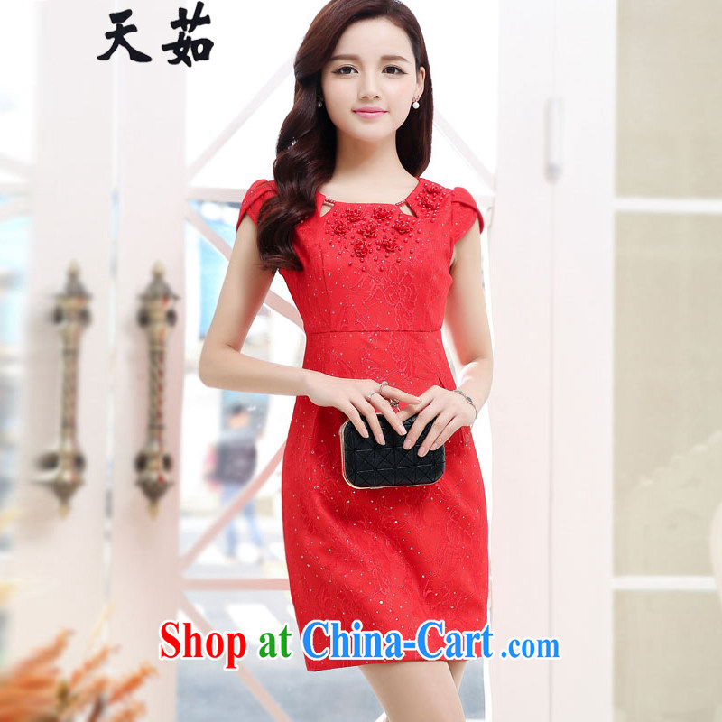 Day Ju 2015 bridal toast clothing summer new lace nails Pearl short-sleeved red cheongsam dress the wedding dress red XXL