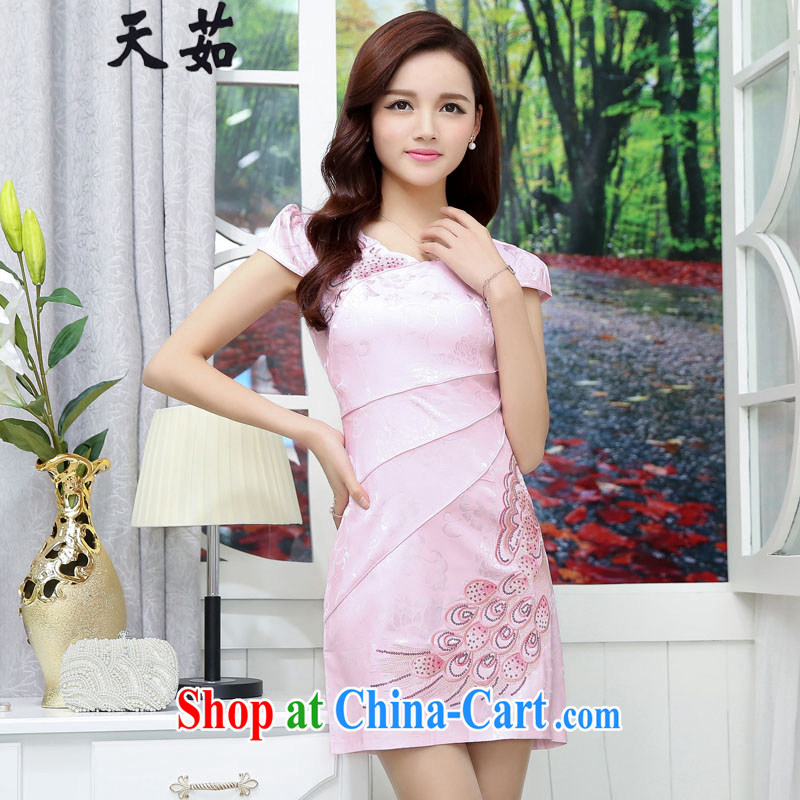 Day Ju 2015 summer new Chinese small dress short dress dresses the marriage feast day retro graphics thin beauty dresses pink XXL