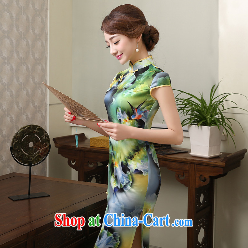 New 2015 spring and summer dresses dresses stylish improved cultivation cheongsam dress daily retro long dresses female XXL