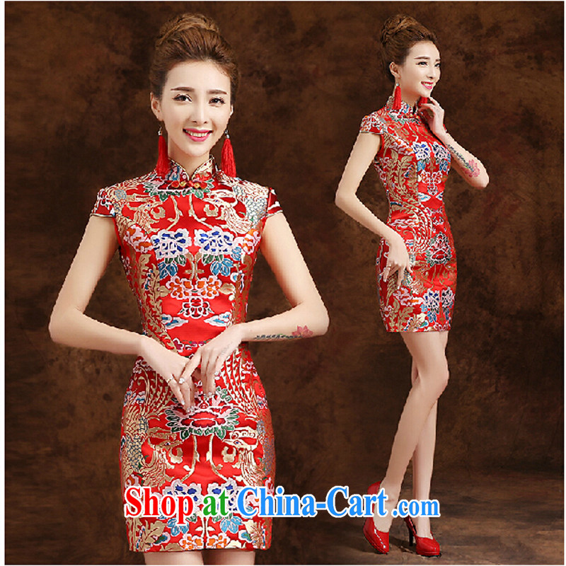 Pure bamboo love dresses bridal wedding dresses short dresses qipao cheongsam beauty Chinese wedding dresses new dresses red tailored contact Customer Service