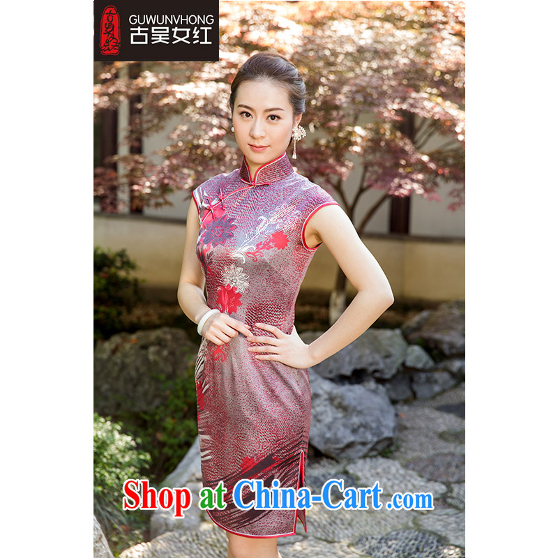 Mr. Wu female Red 2015 summer, new stamp cheongsam short suits, B