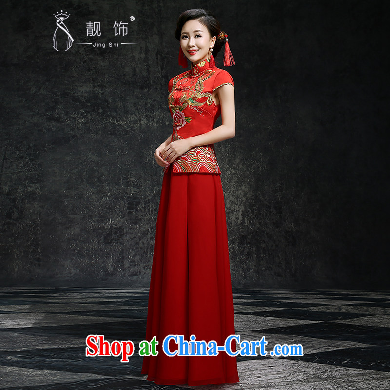 Beautiful ornaments summer 2015 New red long cheongsam dress beauty graphics thin improved version stylish new wedding dress toast clothing Red. Contact Customer Service, beautiful ornaments JinGSHi), online shopping