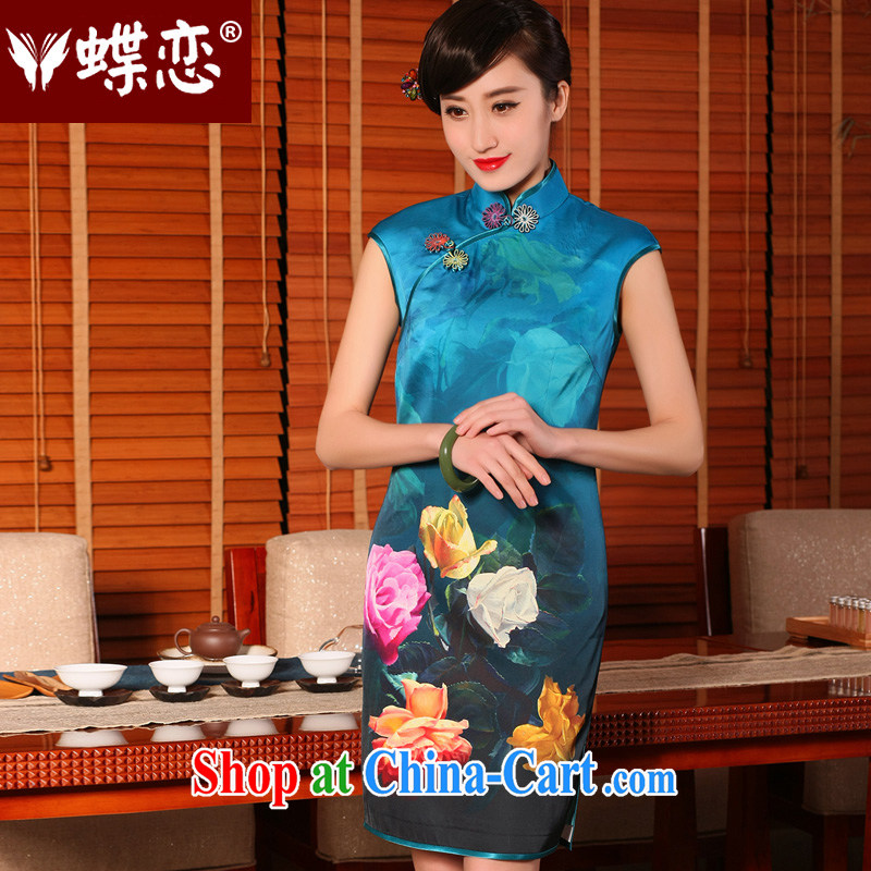 Butterfly Lovers 2015 summer new stylish improved cheongsam dress emulation, Retro short-sleeve dresses getting cuter XXL